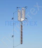 Основание колонны бруса на 50 мм 125*50*40*4,0 мм, Н=250 мм, д=20 мм,  ZINGA