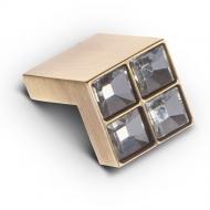 CRL01BA Ручка-кнопка с кристаллами, бронза