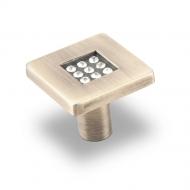 CRL03BA Ручка-кнопка с кристаллами, бронза
